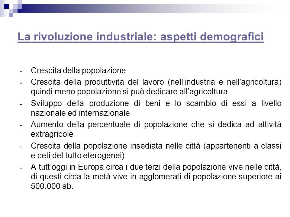 La rivoluzione industriale: aspetti demografici - Crescita della popolazione - Crescita della produttività del lavoro (nellindustria e nellagricoltura