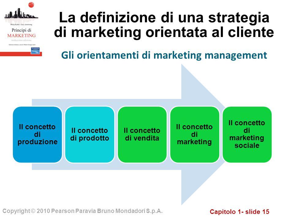 Capitolo 1- slide 15 Copyright © 2010 Pearson Paravia Bruno Mondadori S.p.A. La definizione di una strategia di marketing orientata al cliente Il conc