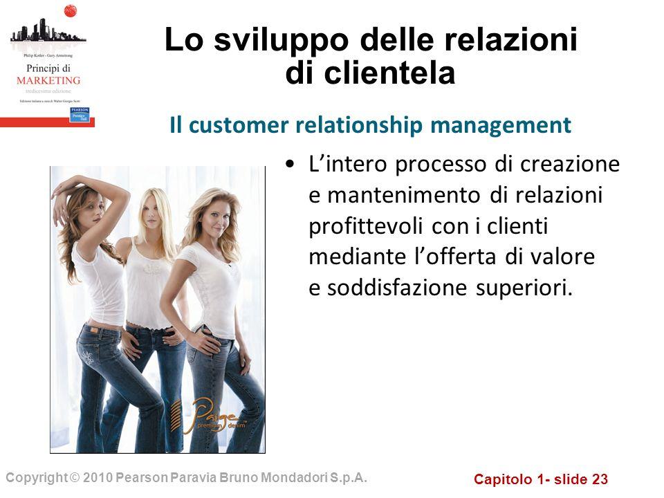 Capitolo 1- slide 23 Copyright © 2010 Pearson Paravia Bruno Mondadori S.p.A. Lo sviluppo delle relazioni di clientela Lintero processo di creazione e