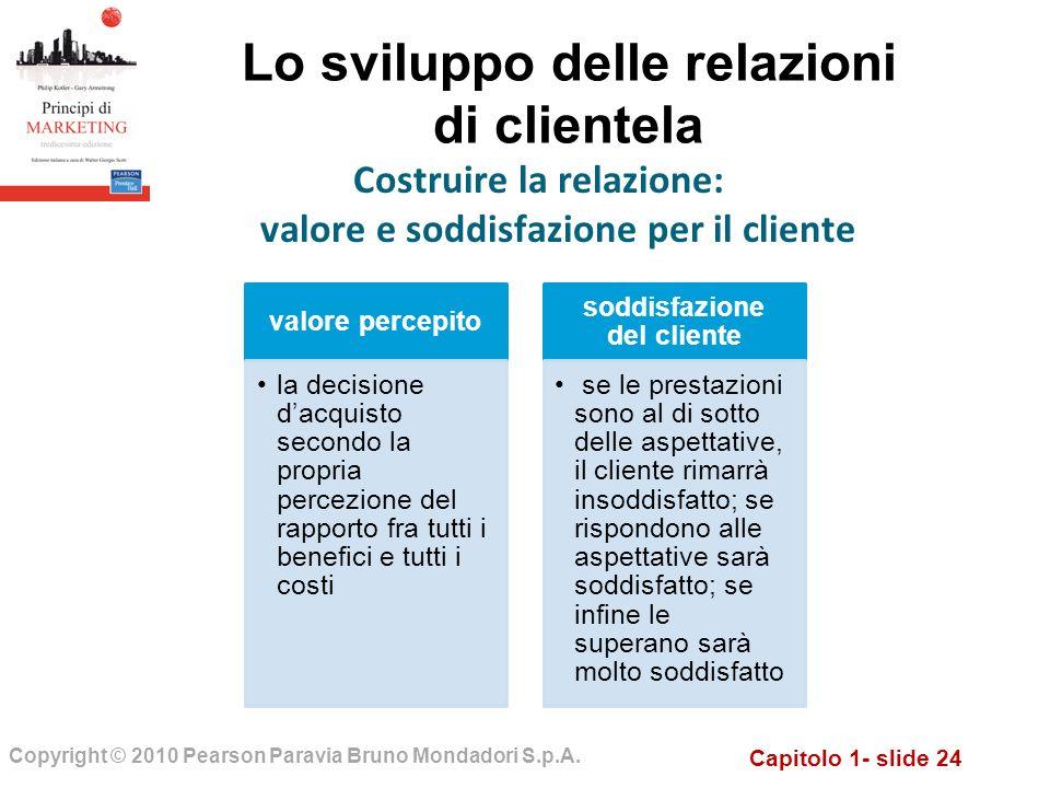 Capitolo 1- slide 24 Copyright © 2010 Pearson Paravia Bruno Mondadori S.p.A. Lo sviluppo delle relazioni di clientela Costruire la relazione: valore e