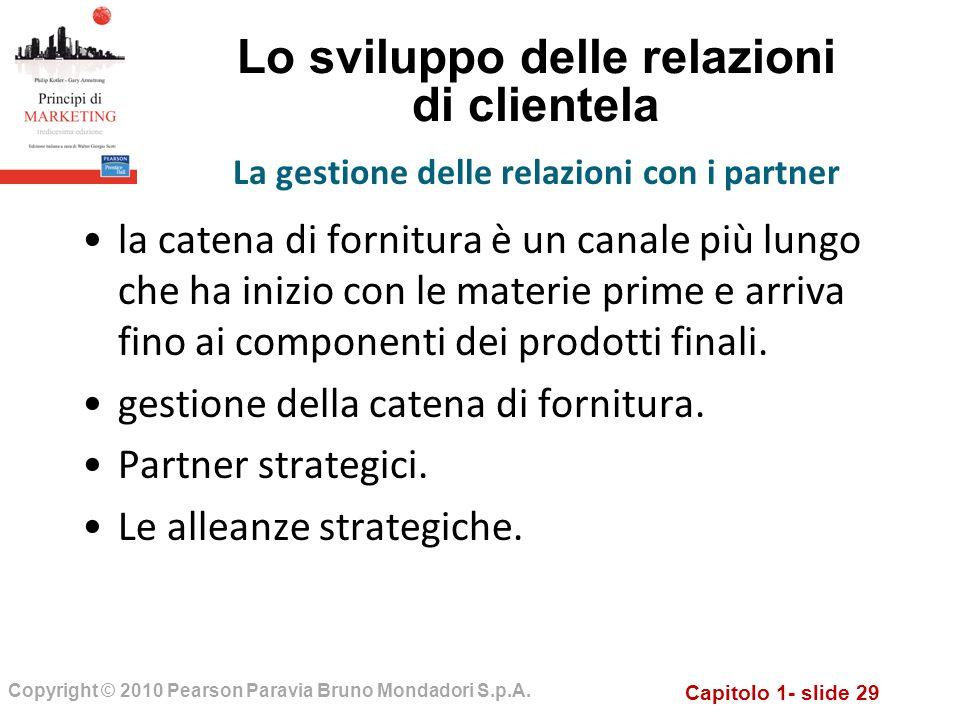 Capitolo 1- slide 29 Copyright © 2010 Pearson Paravia Bruno Mondadori S.p.A. Lo sviluppo delle relazioni di clientela la catena di fornitura è un cana