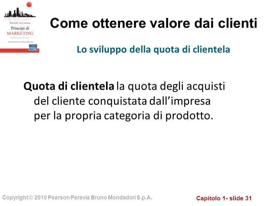Capitolo 1- slide 31 Copyright © 2010 Pearson Paravia Bruno Mondadori S.p.A. Come ottenere valore dai clienti Quota di clientela la quota degli acquis