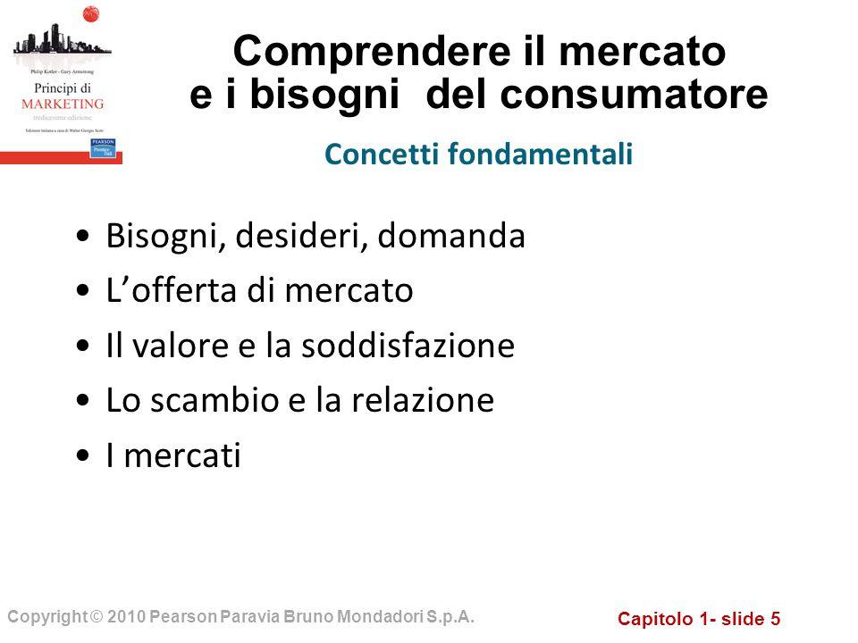 Capitolo 1- slide 5 Copyright © 2010 Pearson Paravia Bruno Mondadori S.p.A. Comprendere il mercato e i bisogni del consumatore Bisogni, desideri, doma
