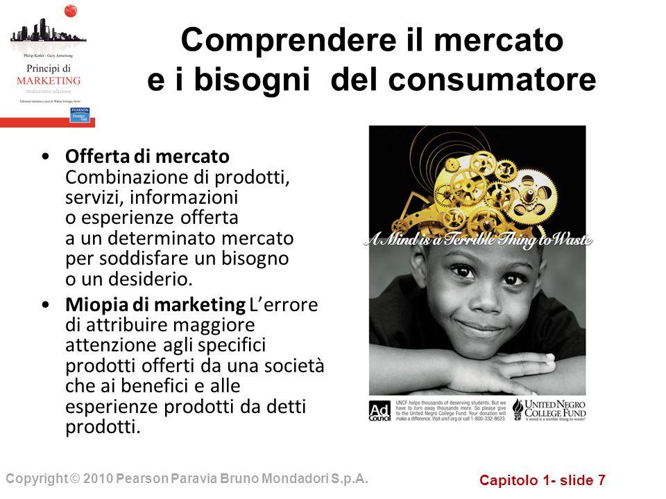 Capitolo 1- slide 7 Copyright © 2010 Pearson Paravia Bruno Mondadori S.p.A. Comprendere il mercato e i bisogni del consumatore Offerta di mercato Comb