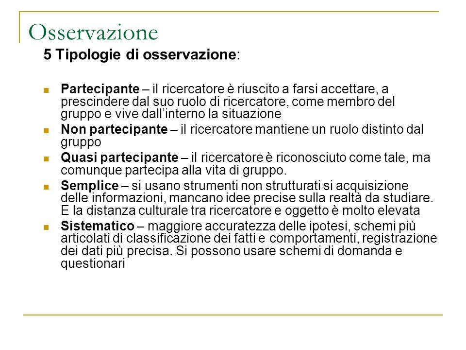 Osservazione 5 Tipologie di osservazione: Partecipante – il ricercatore è riuscito a farsi accettare, a prescindere dal suo ruolo di ricercatore, come