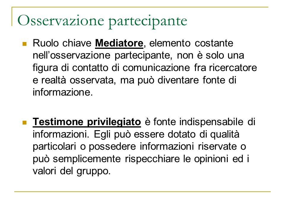 Osservazione partecipante Ruolo chiave Mediatore, elemento costante nellosservazione partecipante, non è solo una figura di contatto di comunicazione fra ricercatore e realtà osservata, ma può diventare fonte di informazione.