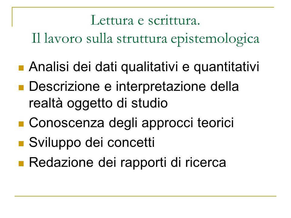 Lettura e scrittura. Il lavoro sulla struttura epistemologica Analisi dei dati qualitativi e quantitativi Descrizione e interpretazione della realtà o