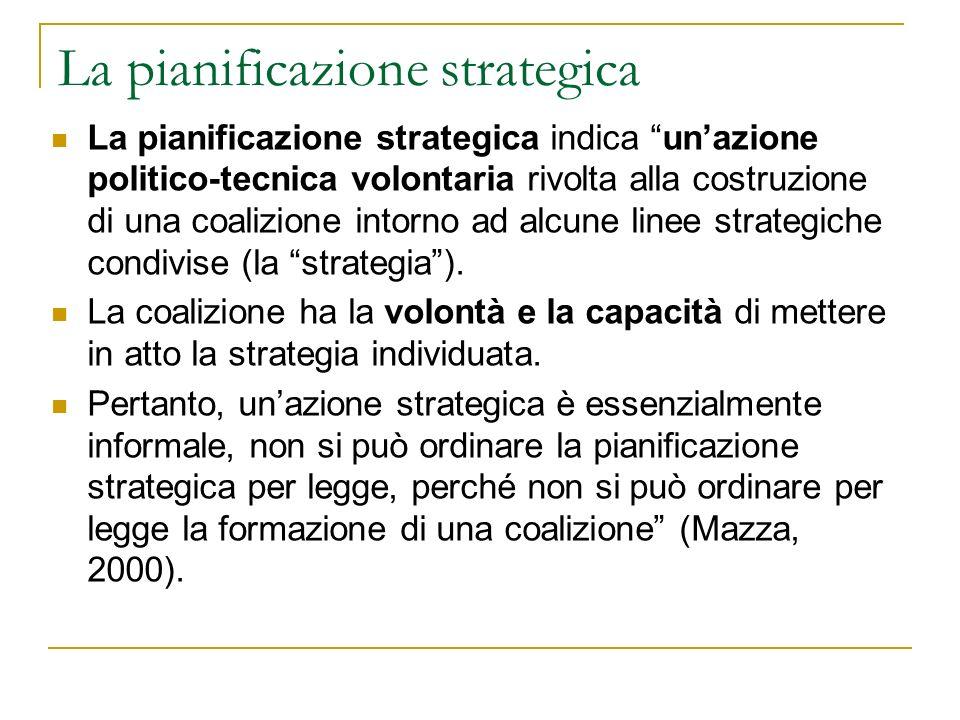 La pianificazione strategica indica unazione politico-tecnica volontaria rivolta alla costruzione di una coalizione intorno ad alcune linee strategiche condivise (la strategia).
