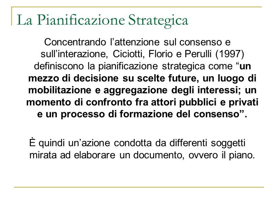 La Pianificazione Strategica Concentrando lattenzione sul consenso e sullinterazione, Ciciotti, Florio e Perulli (1997) definiscono la pianificazione