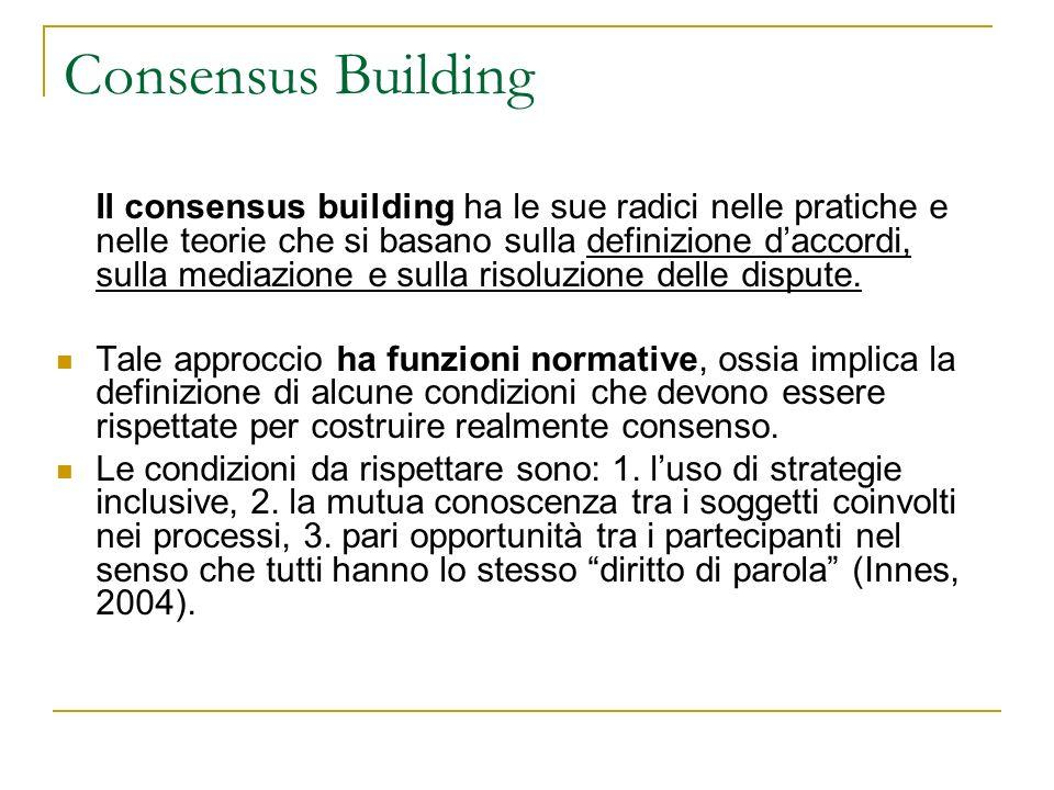 Il consensus building ha le sue radici nelle pratiche e nelle teorie che si basano sulla definizione daccordi, sulla mediazione e sulla risoluzione delle dispute.