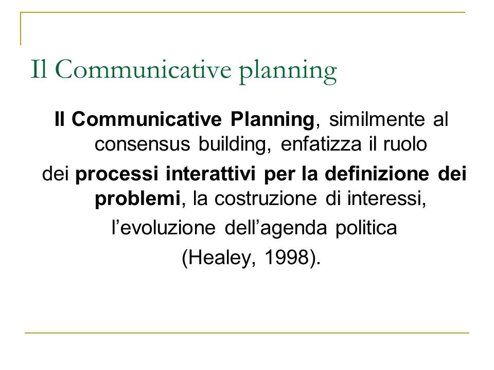 Il Communicative Planning, similmente al consensus building, enfatizza il ruolo dei processi interattivi per la definizione dei problemi, la costruzio