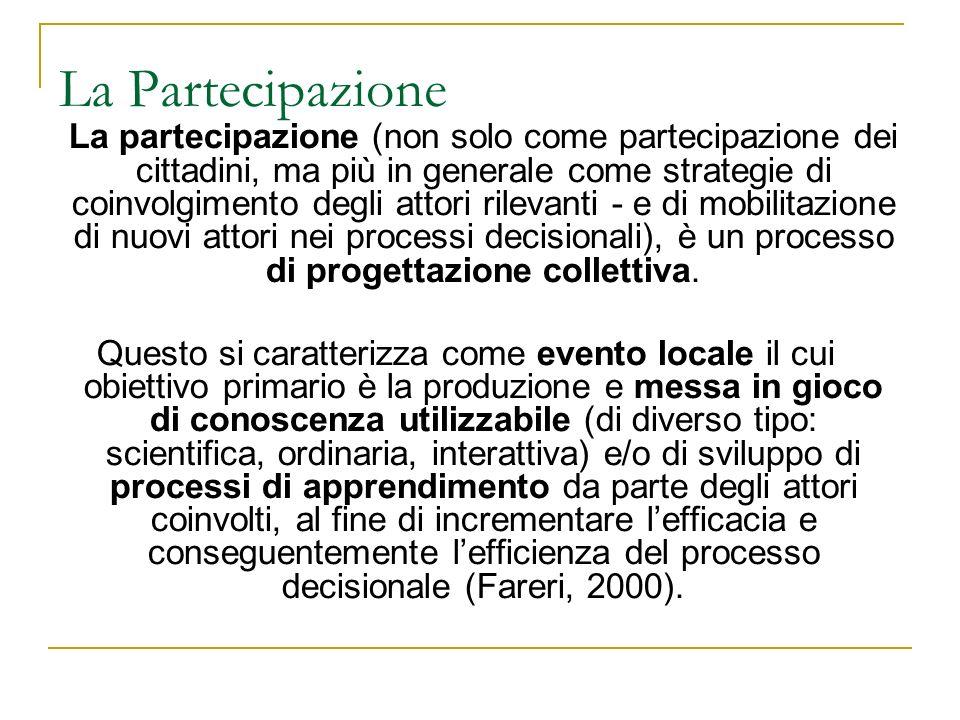 La partecipazione (non solo come partecipazione dei cittadini, ma più in generale come strategie di coinvolgimento degli attori rilevanti - e di mobilitazione di nuovi attori nei processi decisionali), è un processo di progettazione collettiva.