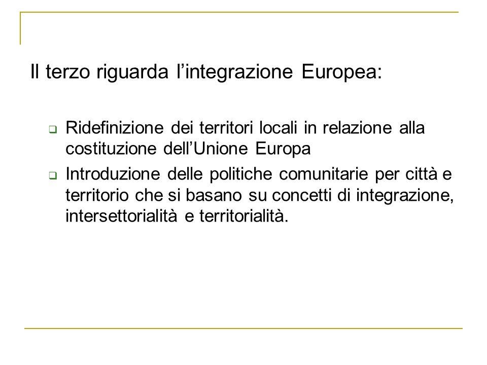 Il terzo riguarda lintegrazione Europea: Ridefinizione dei territori locali in relazione alla costituzione dellUnione Europa Introduzione delle politiche comunitarie per città e territorio che si basano su concetti di integrazione, intersettorialità e territorialità.