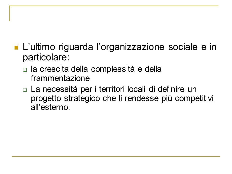 Lultimo riguarda lorganizzazione sociale e in particolare: la crescita della complessità e della frammentazione La necessità per i territori locali di definire un progetto strategico che li rendesse più competitivi allesterno.