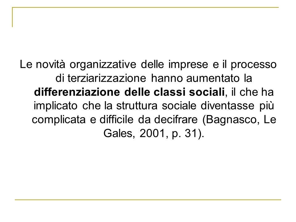 Le novità organizzative delle imprese e il processo di terziarizzazione hanno aumentato la differenziazione delle classi sociali, il che ha implicato che la struttura sociale diventasse più complicata e difficile da decifrare (Bagnasco, Le Gales, 2001, p.