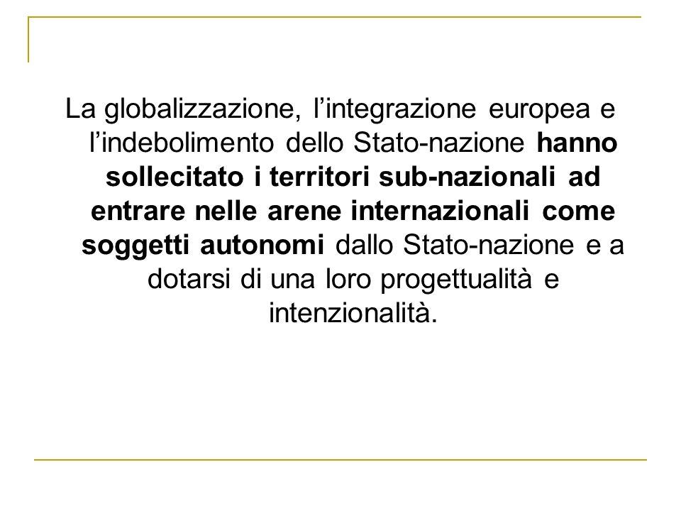 La globalizzazione, lintegrazione europea e lindebolimento dello Stato-nazione hanno sollecitato i territori sub-nazionali ad entrare nelle arene inte