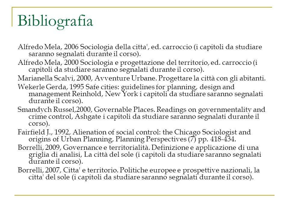 Bibliografia Alfredo Mela, 2006 Sociologia della citta', ed. carroccio (i capitoli da studiare saranno segnalati durante il corso). Alfredo Mela, 2000