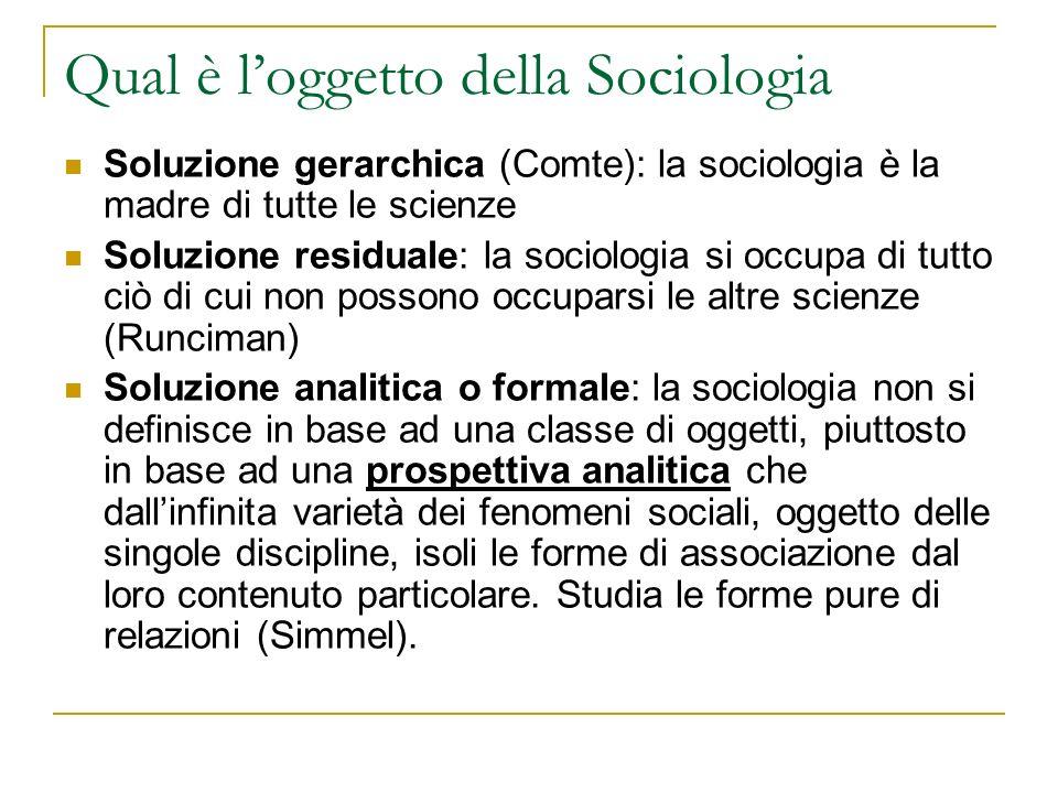 Qual è loggetto della Sociologia Soluzione gerarchica (Comte): la sociologia è la madre di tutte le scienze Soluzione residuale: la sociologia si occu