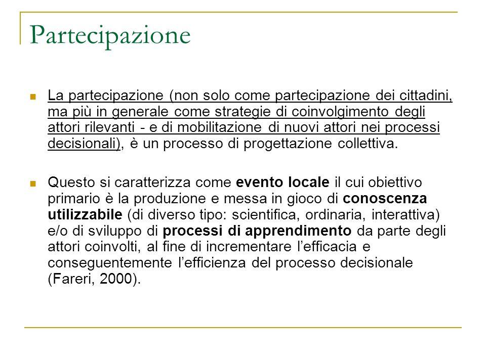 Partecipazione La partecipazione (non solo come partecipazione dei cittadini, ma più in generale come strategie di coinvolgimento degli attori rilevan