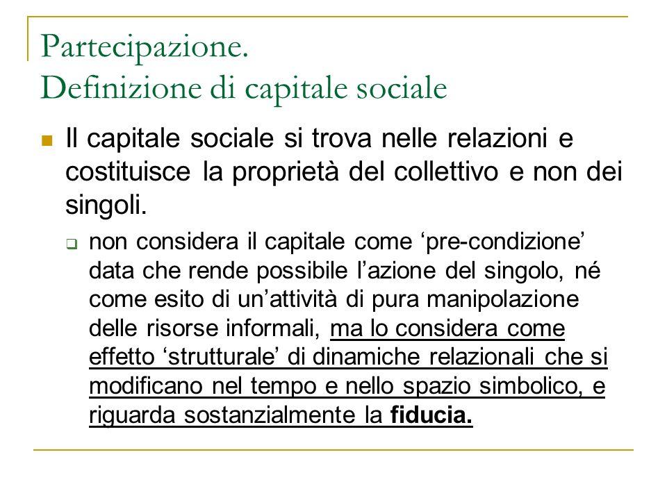 Partecipazione. Definizione di capitale sociale Il capitale sociale si trova nelle relazioni e costituisce la proprietà del collettivo e non dei singo
