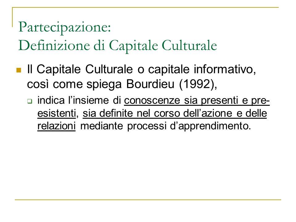 Partecipazione: Definizione di Capitale Culturale Il Capitale Culturale o capitale informativo, così come spiega Bourdieu (1992), indica linsieme di c
