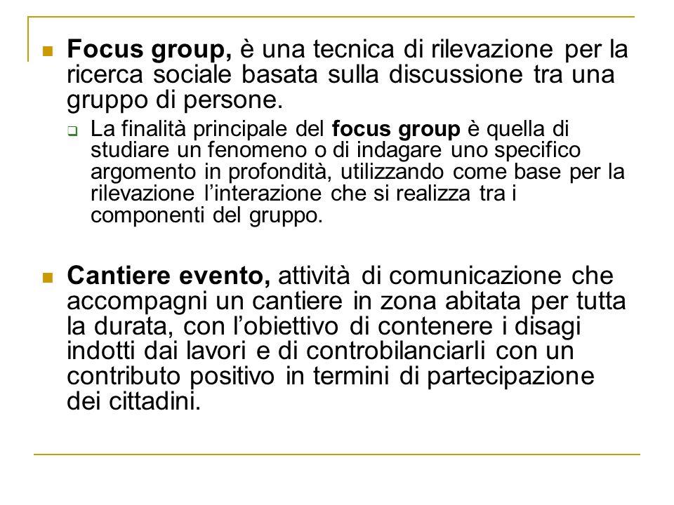 Focus group, è una tecnica di rilevazione per la ricerca sociale basata sulla discussione tra una gruppo di persone. La finalità principale del focus