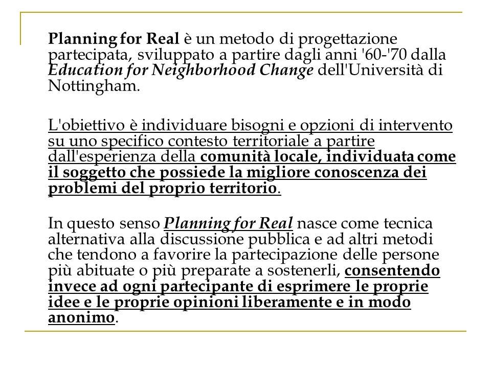 Planning for Real è un metodo di progettazione partecipata, sviluppato a partire dagli anni '60-'70 dalla Education for Neighborhood Change dell'Unive