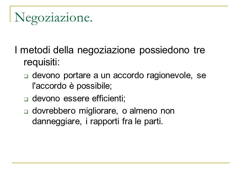 Negoziazione. I metodi della negoziazione possiedono tre requisiti: devono portare a un accordo ragionevole, se l'accordo è possibile; devono essere e