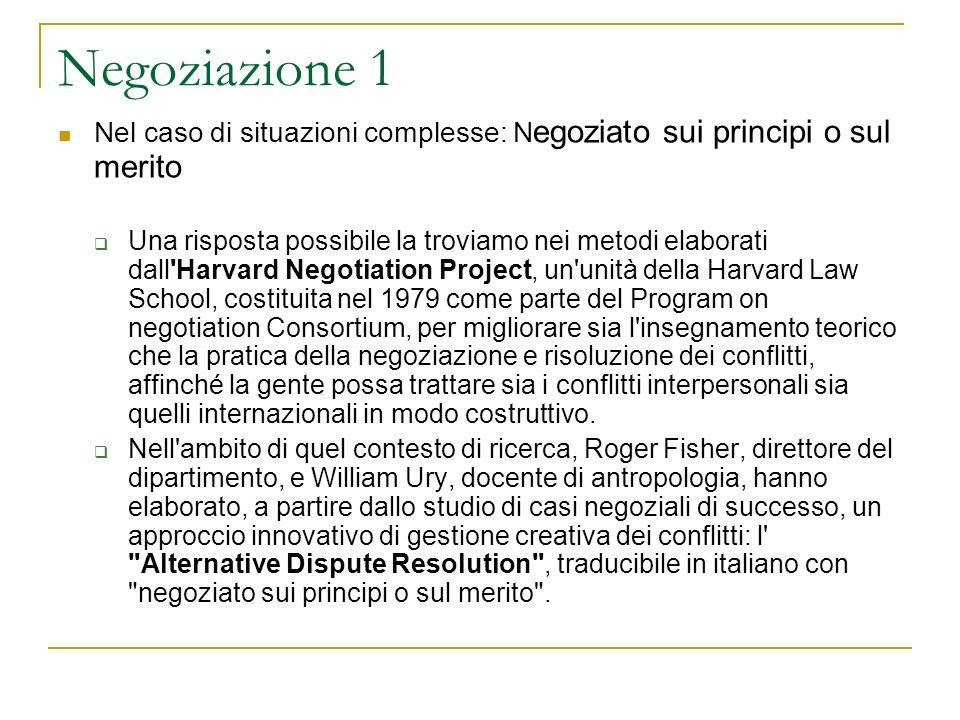 Negoziazione 1 Nel caso di situazioni complesse: N egoziato sui principi o sul merito Una risposta possibile la troviamo nei metodi elaborati dall'Har