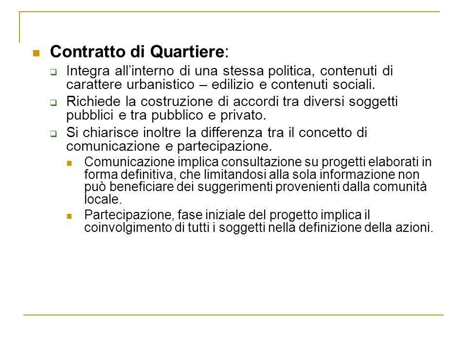 Contratto di Quartiere: Integra allinterno di una stessa politica, contenuti di carattere urbanistico – edilizio e contenuti sociali. Richiede la cost