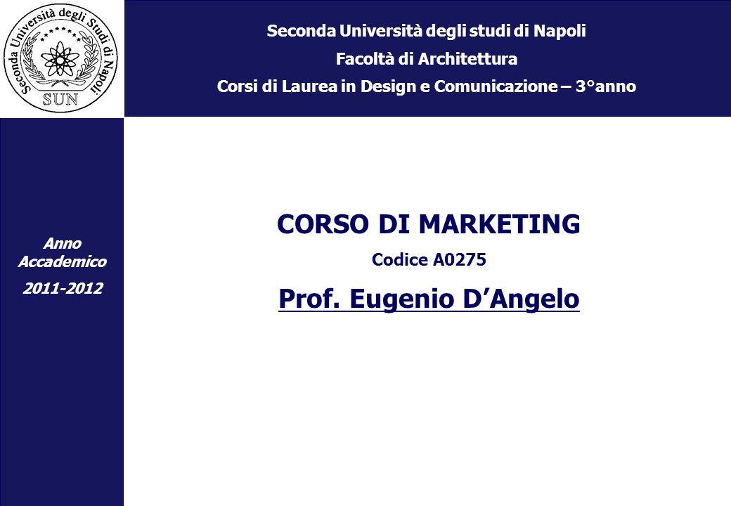 Seconda Università degli studi di Napoli Facoltà di Architettura Corsi di Laurea in Design e Comunicazione – 3°anno CORSO DI MARKETING Codice A0275 Prof.
