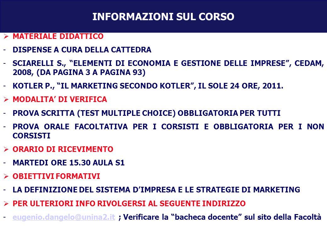 INFORMAZIONI SUL CORSO MATERIALE DIDATTICO -DISPENSE A CURA DELLA CATTEDRA -SCIARELLI S., ELEMENTI DI ECONOMIA E GESTIONE DELLE IMPRESE, CEDAM, 2008, (DA PAGINA 3 A PAGINA 93) -KOTLER P., IL MARKETING SECONDO KOTLER, IL SOLE 24 ORE, 2011.