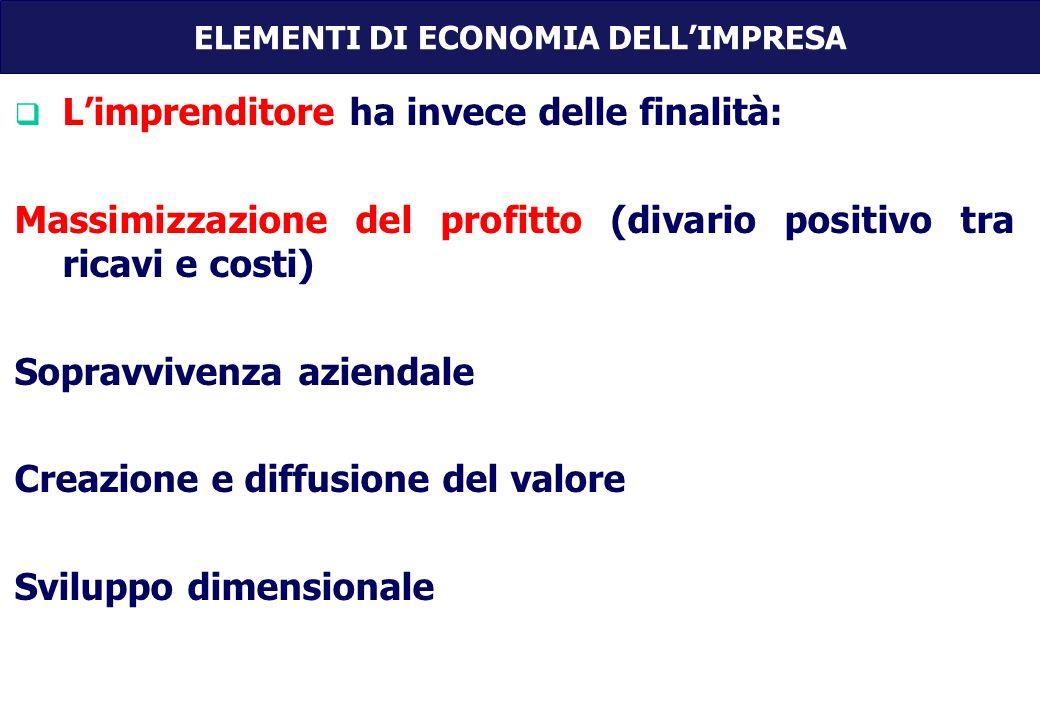 Limprenditore ha invece delle finalità: Massimizzazione del profitto (divario positivo tra ricavi e costi) Sopravvivenza aziendale Creazione e diffusione del valore Sviluppo dimensionale ELEMENTI DI ECONOMIA DELLIMPRESA