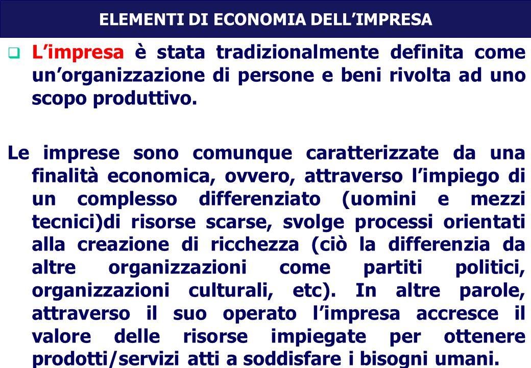ELEMENTI DI ECONOMIA DELLIMPRESA Limpresa è stata tradizionalmente definita come unorganizzazione di persone e beni rivolta ad uno scopo produttivo.