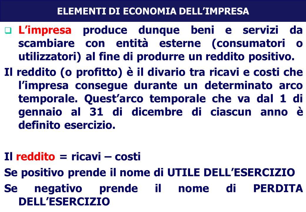 Limpresa produce dunque beni e servizi da scambiare con entità esterne (consumatori o utilizzatori) al fine di produrre un reddito positivo.