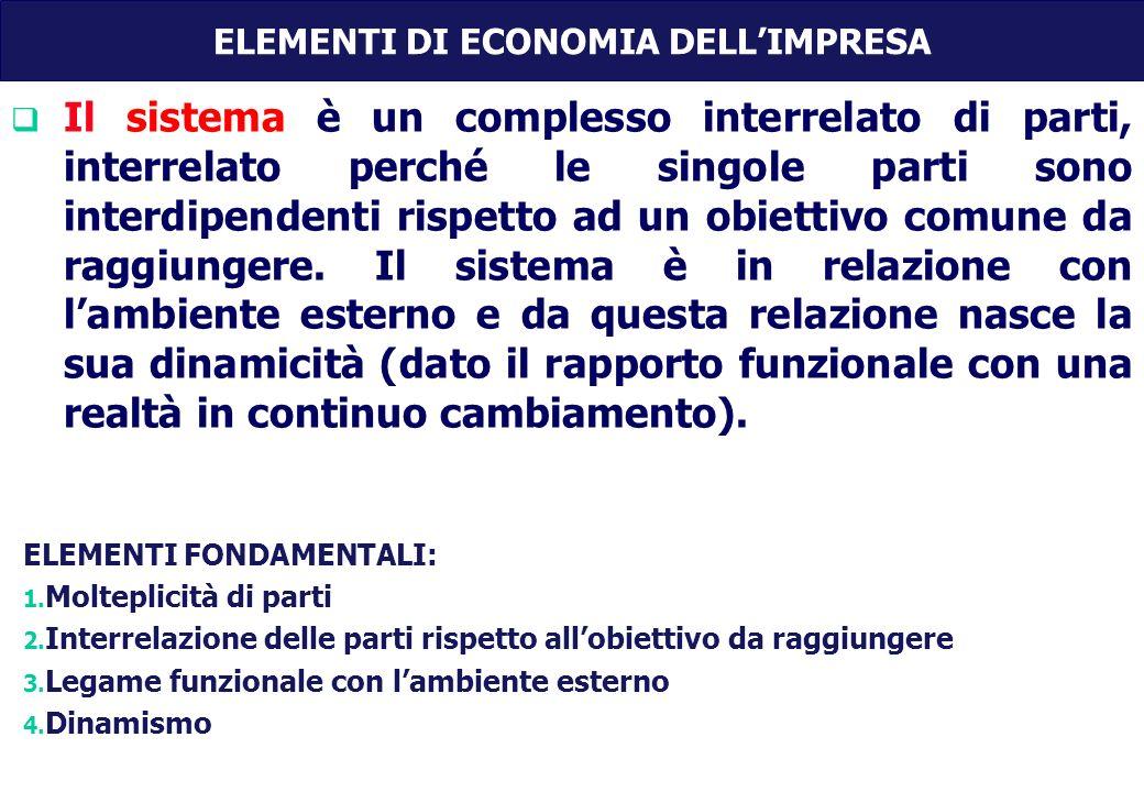 Il sistema è un complesso interrelato di parti, interrelato perché le singole parti sono interdipendenti rispetto ad un obiettivo comune da raggiungere.