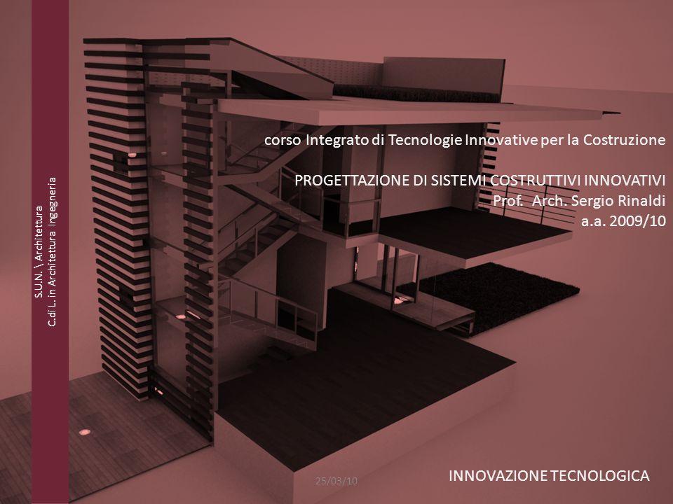 PROGETTAZIONE DI SISTEMI COSTRUTTIVI INNOVATIVI - Prof. Arch. Sergio Rinaldi - a.a. 2009/10 S.U.N. \ Architettura C.di L. in Architettura Ingegneria c