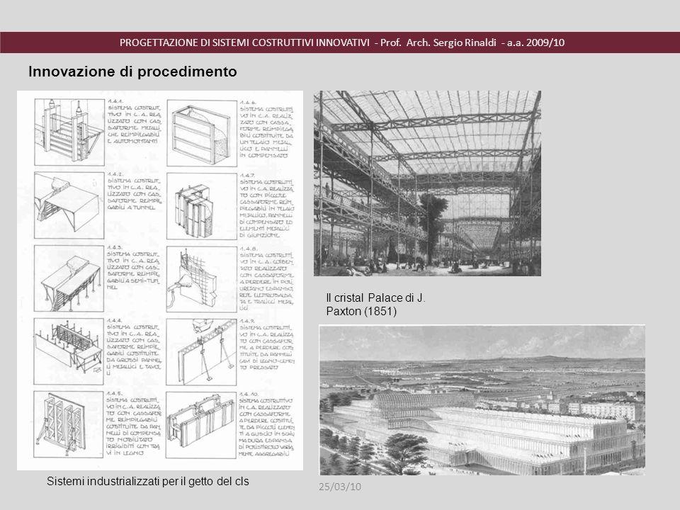 PROGETTAZIONE DI SISTEMI COSTRUTTIVI INNOVATIVI - Prof. Arch. Sergio Rinaldi - a.a. 2009/10 Innovazione di procedimento Sistemi industrializzati per i