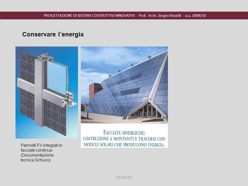 PROGETTAZIONE DI SISTEMI COSTRUTTIVI INNOVATIVI - Prof. Arch. Sergio Rinaldi - a.a. 2009/10 Pannelli FV integrati in facciate continue (Documentazione