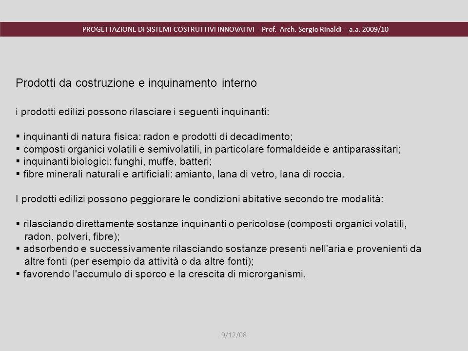 PROGETTAZIONE DI SISTEMI COSTRUTTIVI INNOVATIVI - Prof. Arch. Sergio Rinaldi - a.a. 2009/10 9/12/08 i prodotti edilizi possono rilasciare i seguenti i