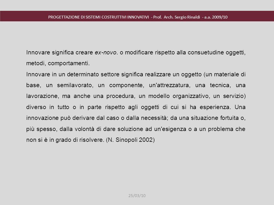 PROGETTAZIONE DI SISTEMI COSTRUTTIVI INNOVATIVI - Prof. Arch. Sergio Rinaldi - a.a. 2009/10 Innovare significa creare ex-novo. o modificare rispetto a