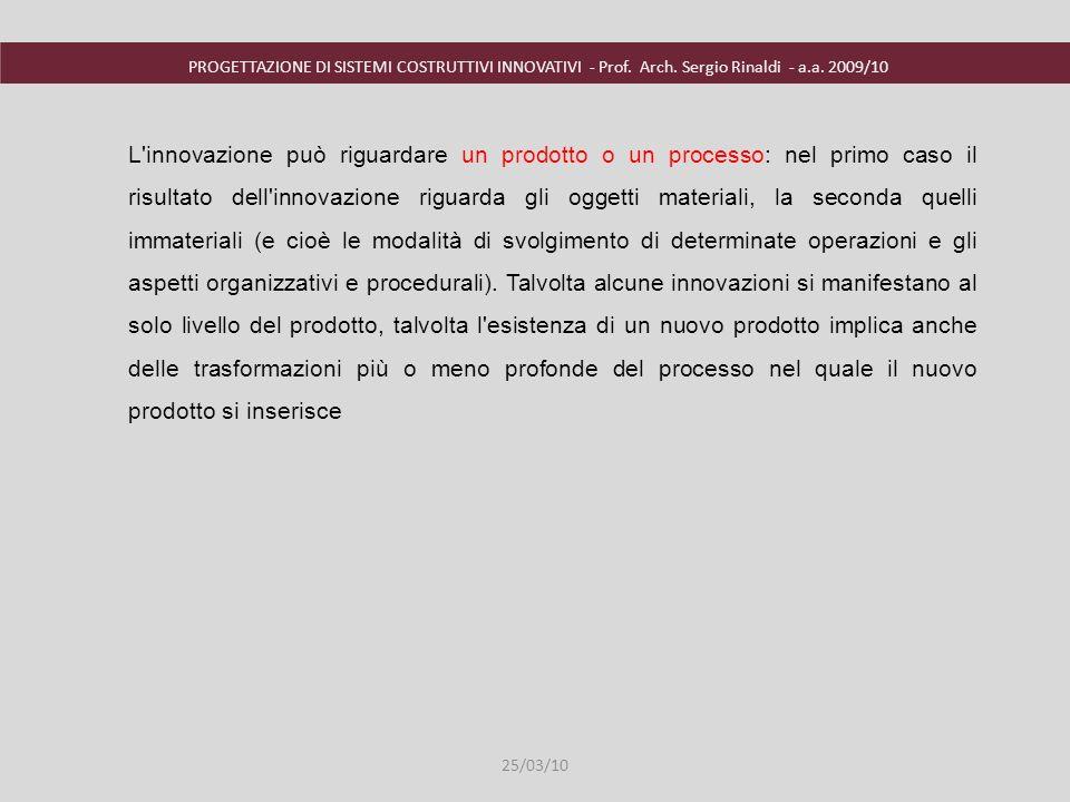 PROGETTAZIONE DI SISTEMI COSTRUTTIVI INNOVATIVI - Prof. Arch. Sergio Rinaldi - a.a. 2009/10 25/03/10 L'innovazione può riguardare un prodotto o un pro