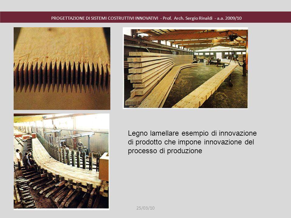 PROGETTAZIONE DI SISTEMI COSTRUTTIVI INNOVATIVI - Prof. Arch. Sergio Rinaldi - a.a. 2009/10 25/03/10 Legno lamellare esempio di innovazione di prodott