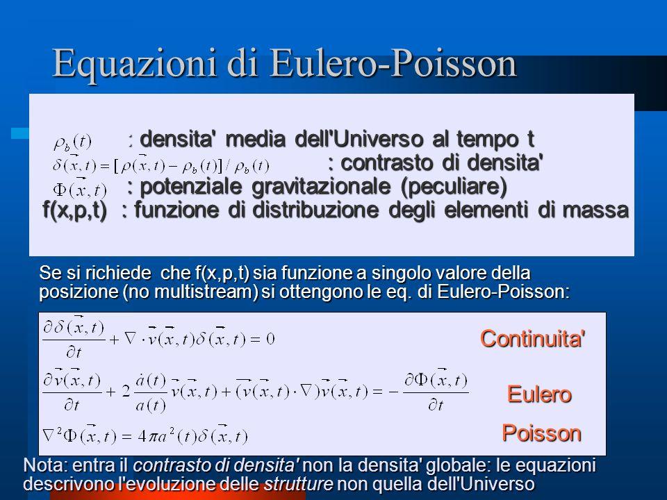 Equazioni di Eulero-Poisson : densita' media dell'Universo al tempo t : densita' media dell'Universo al tempo t : contrasto di densita' : contrasto di