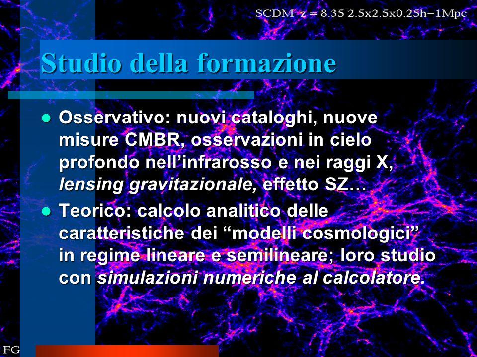 Studio della formazione Osservativo: nuovi cataloghi, nuove misure CMBR, osservazioni in cielo profondo nellinfrarosso e nei raggi X, lensing gravitaz