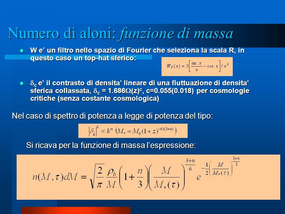 W e un filtro nello spazio di Fourier che seleziona la scala R, in questo caso un top-hat sferico: W e un filtro nello spazio di Fourier che seleziona