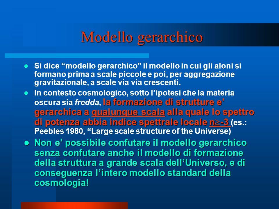Modello gerarchico Si dice modello gerarchico il modello in cui gli aloni si formano prima a scale piccole e poi, per aggregazione gravitazionale, a s
