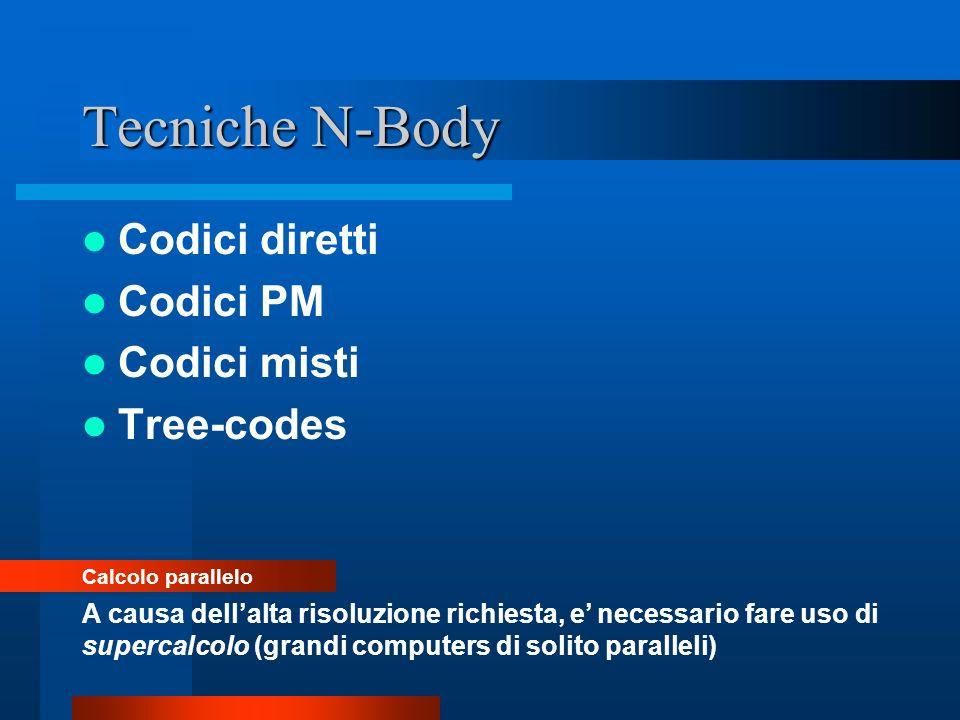 Tecniche N-Body Codici diretti Codici PM Codici misti Tree-codes Calcolo parallelo A causa dellalta risoluzione richiesta, e necessario fare uso di su