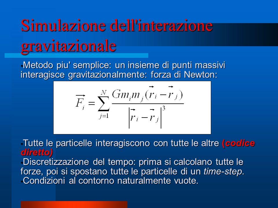 Simulazione dell'interazione gravitazionale Metodo piu' semplice: un insieme di punti massivi interagisce gravitazionalmente: forza di Newton: Metodo