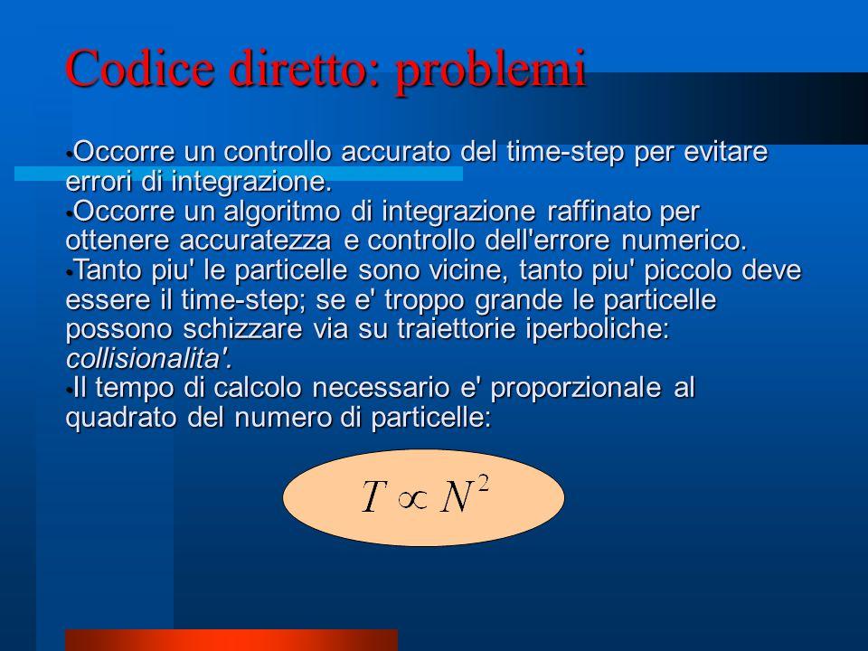 Codice diretto: problemi Occorre un controllo accurato del time-step per evitare errori di integrazione. Occorre un controllo accurato del time-step p